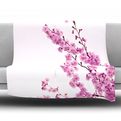 Cherry Sakura Fleece Throw Blanket Color: Pink, Size: 90 L x 90 W