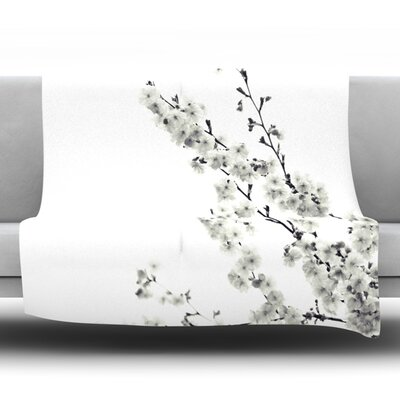 Cherry Sakura Fleece Throw Blanket Size: 40 L x 30 W, Color: White