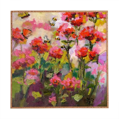Bee Balm and Bees Framed Painting Print Size: 20 H x 20 W x 1 D