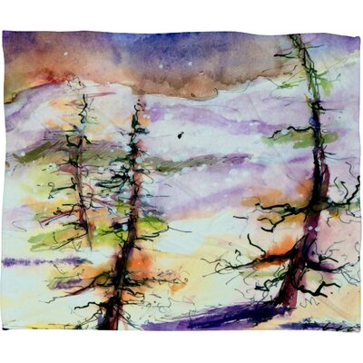 Winter Trees Plush Fleece Throw Blanket Size: Large