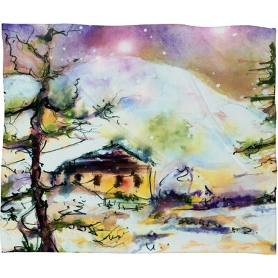 Cabin In The Snow Plush Fleece Throw Blanket Size: Medium