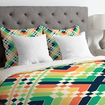 Budi Kwan Retrographic Rainbow Duvet Cover Size: Queen, Fabric: Lightweight