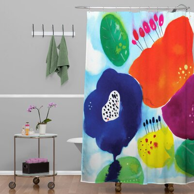 CayenaBlanca Big Flowers Floral Shower Curtain