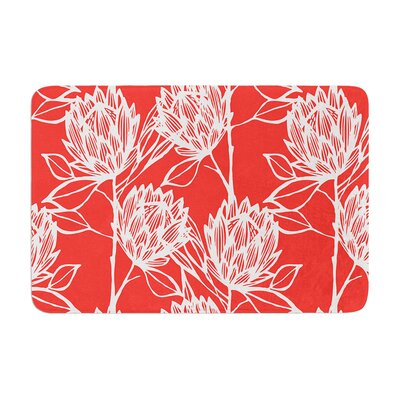 Protea by Gill Eggleston Bath Mat Color: Strawberry/White, Size: 17W x 24L