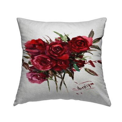 Deep Red Burgundy Roses Throw Pillow Size: 18 H x 18 W x 2 D