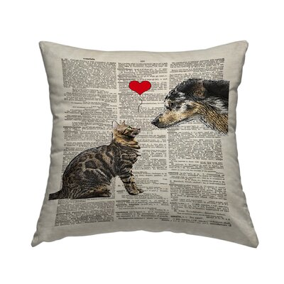 Dog Cat Love Throw Pillow Size: 18 H x 18 W x 2 D
