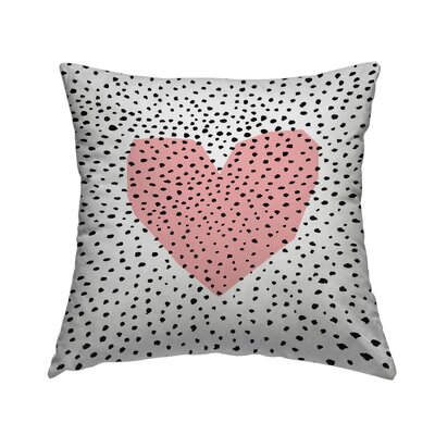 Dotty Heart Throw Pillow Size: 14 H x 14 W x 2 D