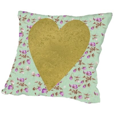 Gold Heart on Mint Throw Pillow