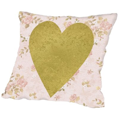 Gold Heart on Pink Throw Pillow