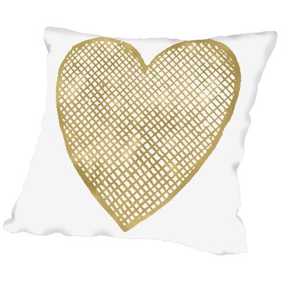 Heart Crosshatched Throw Pillow Size: 16 H x 16 W x 2 D