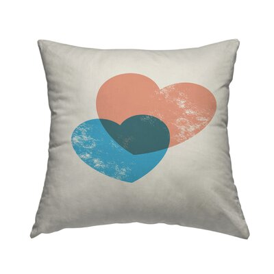 Hearts Combine Throw Pillow Size: 16