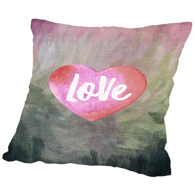 Love Heart Throw Pillow Size: 14