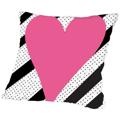 Pink Heart Throw Pillow Size: 18 H x 18 W x 2 D