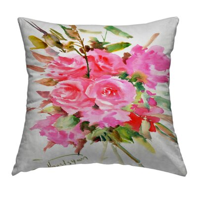 Tea Roses Throw Pillow Size: 18 H x 18 W x 2 D
