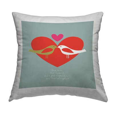 Birds One Love Throw Pillow Size: 16 H x 16 W x 2 D