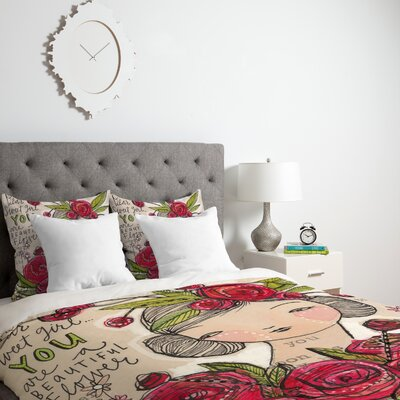 Dear Sweet Girl Duvet Cover Size: Twin, Fabric: Lightweight