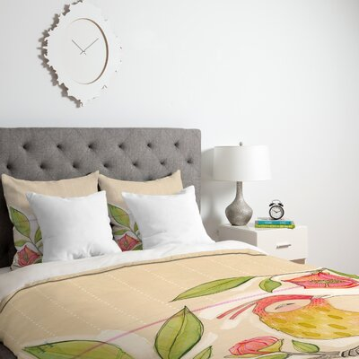 Little Bird On A Flowery Branch Duvet Cover Size: King, Fabric: Lightweight