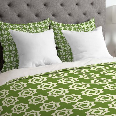 Lightweight Moroccan Mirage Duvet Cover Size: Queen, Color: Green