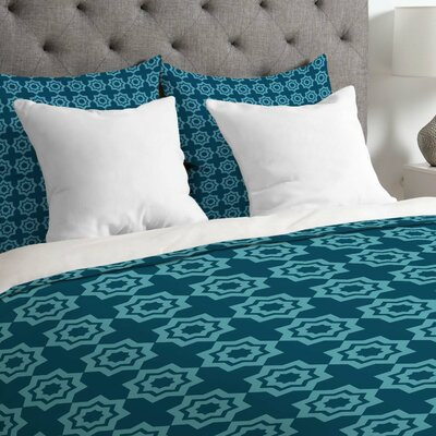 Lightweight Moroccan Mirage Duvet Cover Size: Queen, Color: Blue