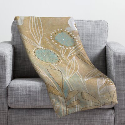 Blue Floral Throw Blanket Size: 60 H x 50 W