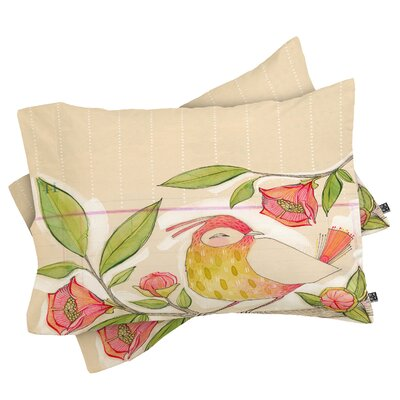 Little Bird On A Flowery Branch Pillowcase Size: King