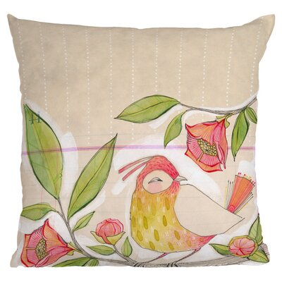 Little Bird On A Flowery Branch Throw Pillow Size: 20 x 20