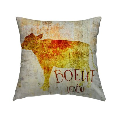 Boeuf Vendu Throw Pillow Size: 14 H x 14 W x 1.5 D