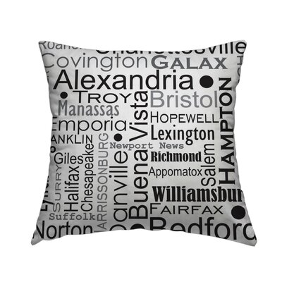 Virgina Cities And Counties Throw Pillow Size: 20 H x 20 W x 1.5 D