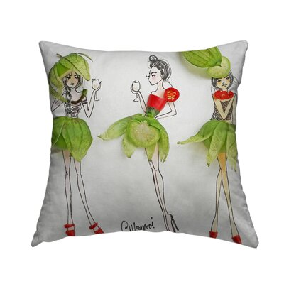 Tomatillo Ladies Throw Pillow Size: 16