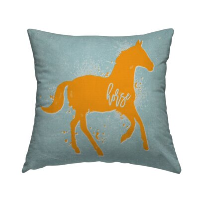 Horse Throw Pillow Size: 14 H x 14 W x 1.5 D