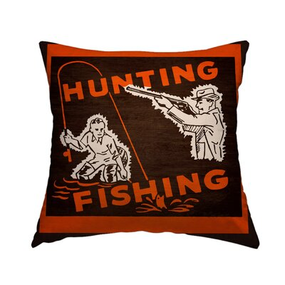 Hunting and Fishing II Throw Pillow Size: 14 H x 14 W x 1.5 D