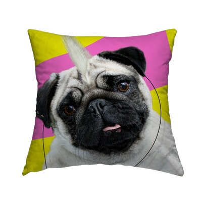 Pug Rock Throw Pillow Size: 18 H x 18 W x 1.5 D