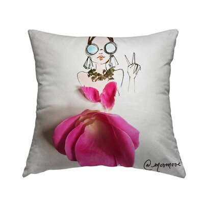 Peace Girl Throw Pillow Size: 14 H x 14 W x 1.5 D