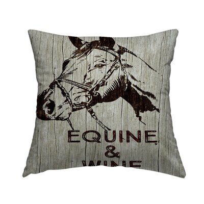 Equine and Wine Throw Pillow Size: 16