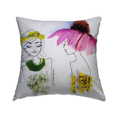 Flower Hats Throw Pillow Size: 14