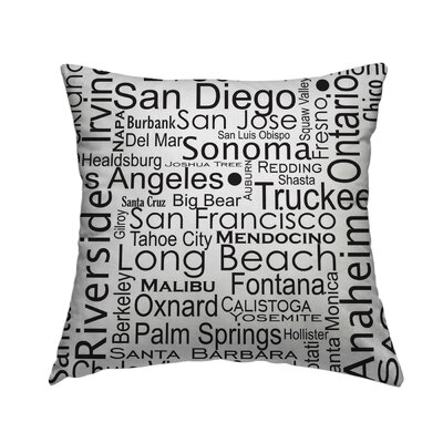 California Cities Throw Pillow Size: 14 H x 14 W x 1.5 D