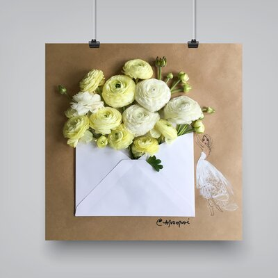 "'Envelope Bouquet' by Meredith Wing Graphic Art on Paper Size: 10"" H x 10"" W x 0.1"" D ESRB8273 36974490"