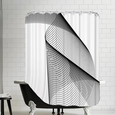 Line Swirl 2 Cotton Shower Curtain