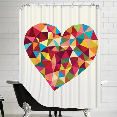 Heart Polygon Shower Curtain