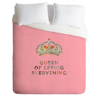 Her Daily Motivation Lightweight Duvet Cover Color: Pink, Size: Queen