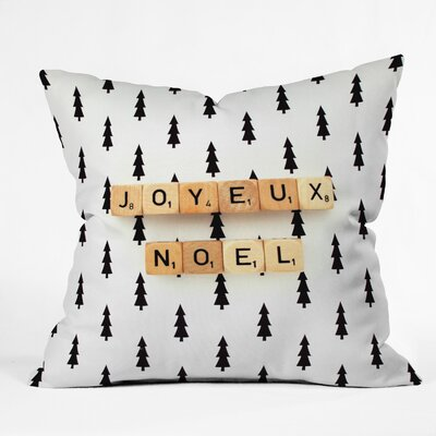Joyeux Noel Indoor/Outdoor Throw Pillow Size: Medium