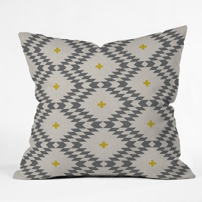 Throw Pillow Size: 16 H x 16 W x 4 D, Color: Gray/Gold