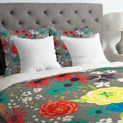 Vy La Bloomimg Love Duvet Cover Size: Queen, Fabric: Lightweight