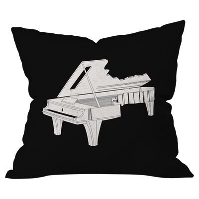 Music is The Key Indoor/ Outdoor Throw Pillow Color: Black, Size: 16 x 16