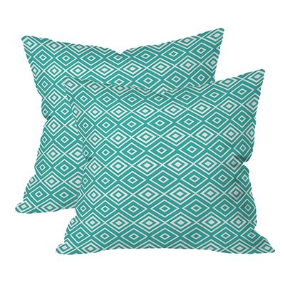 Diamonds are Forever Indoor/Outdoor Throw Pillow (Set of 2) Color: Aquatic