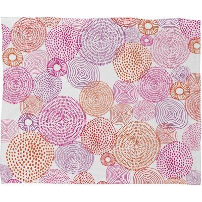 Circles in Colors I Fleece Throw Blanket Size: Small