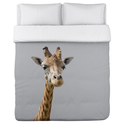 Ahead Giraffe - Lightweight Duvet Cover Size: Full/Queen