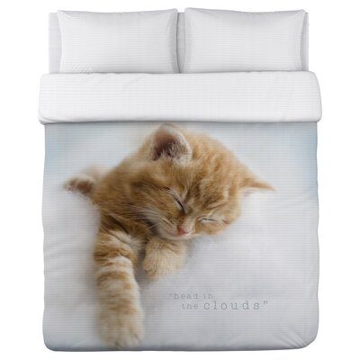 Head in the Clouds Kitten - Lightweight Duvet Cover Size: Full/Queen
