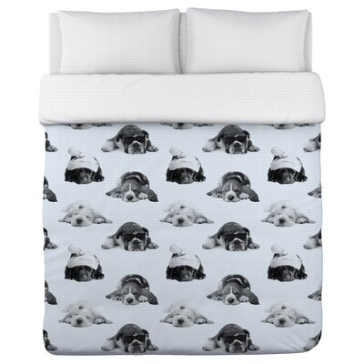 Snoozin Pups - Lightweight Duvet Cover Size: King