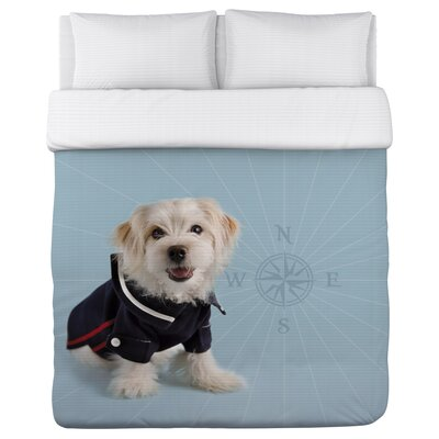 Hello Sailor Dog - Lightweight Duvet Cover Size: Full/Queen